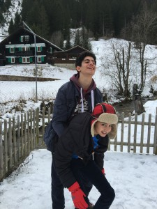 The boys have fun in the real (not virtual!) snow